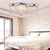 LightInTheBox Crystal Ceiling Light with 5 lights Electroplated Finish, Modern Flush Mount Ceiling Lights Fixture for Hallway, Bedroom, Living Room with Bulb Included