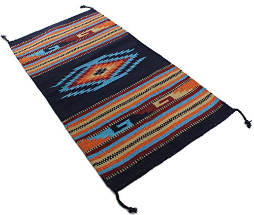 Décor Area Rug, 20 x 40 Inches, Eagle Eye Navy/Turquoise (Hand Woven Arts)