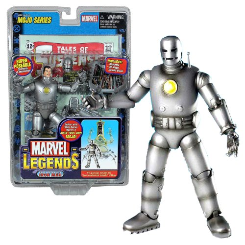 ToyBiz Year 2006 Marvel Legends MOJO Series 7 Inch Tall Action Figure - First Appearance Silver IRON MAN with Super Poseable 36 Points of Articulation, Removable Mask, Diorama and 32 Page Exclusive Comic Book Plus Bonus of