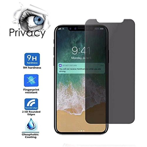 For iPhone X ,Vanvler New Privacy Tempered Glass Protector Screen Full Coverage Film Skin (AS Show)
