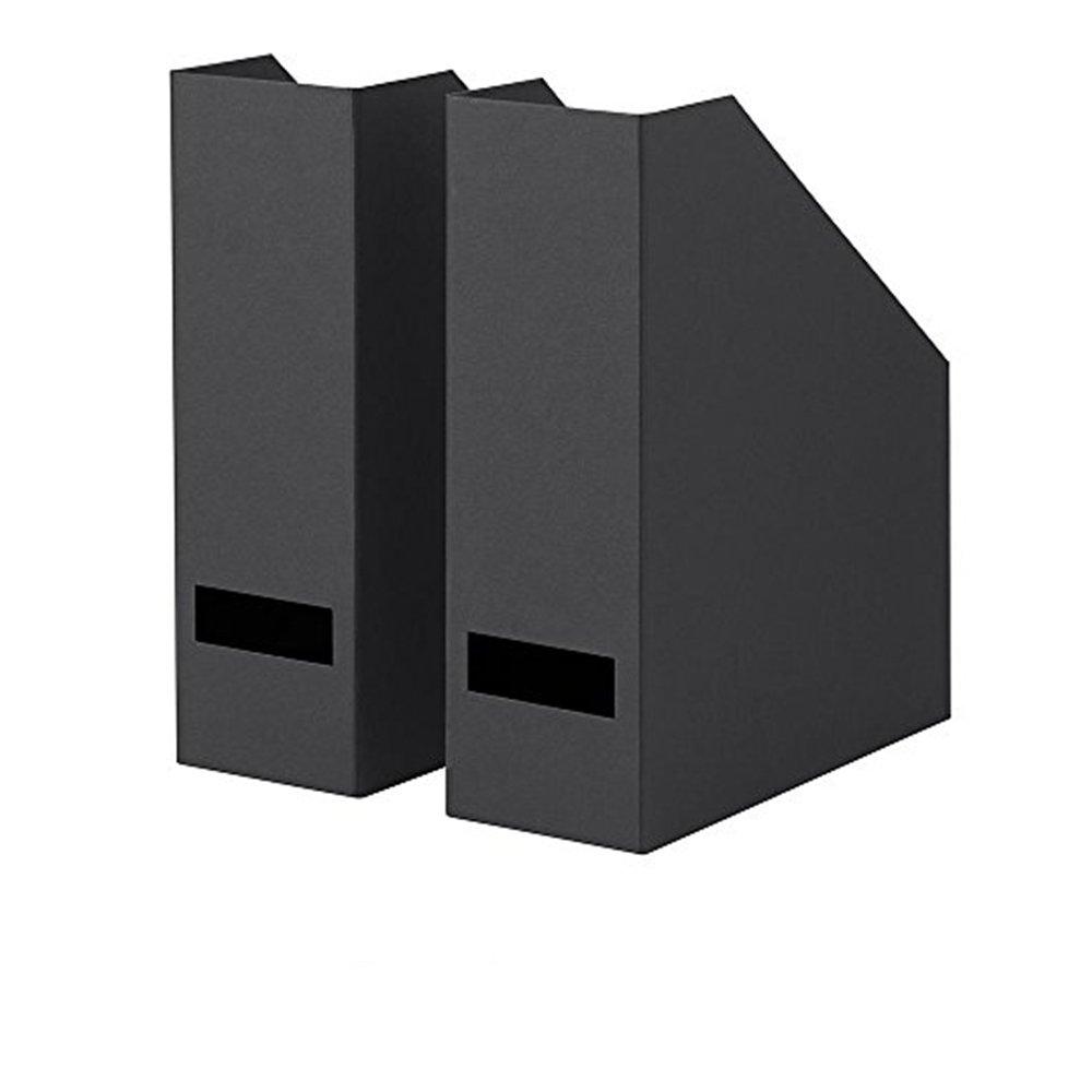 IKEA TJENA Magazine File, Office Supplies Organizer for File Folders, Magazines, Notebooks - Set of 12 (Black)