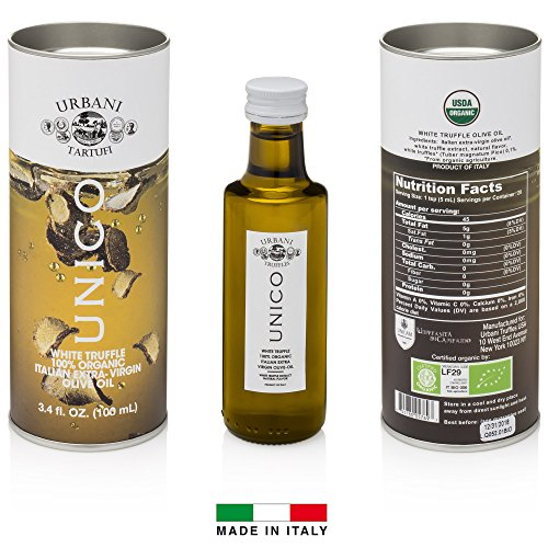 Italian White Truffle Extra Virgin Olive Oil - 3.4 Oz - by Urbani Truffles. Organic Truffle Oil 100% Made In Italy Without Chemicals And With Real Truffle Pieces Inside The Bottle. No Artificial Aroma (Difference Between Extra Virgin And Pure Olive Oil)