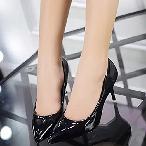 Transer Patent Leather Elegant Ladies Nude Shallow Mouth High Heel Office Work Shoes - Women Wedding Court Shoes Black 3o6OobDVrh