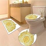 MikiDa Cushion Non-slip Toilet Mat ornament of gold plated vintage floral thai art style Cushion Non-slip