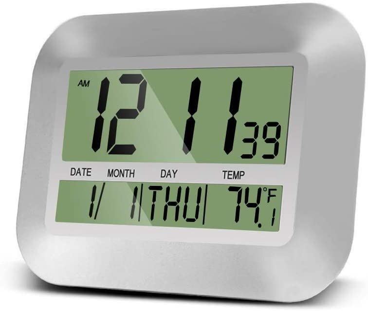 HeQiao Digital Wall Clock Large Desk Alarm Clocks with Temperature (Elegant Silver)