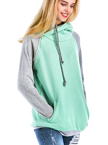 St. Jubileens Women Hoodie Sweatshirt Long Sleeve Spliced Color Casual Pullover Tops with Pockets Light Green L