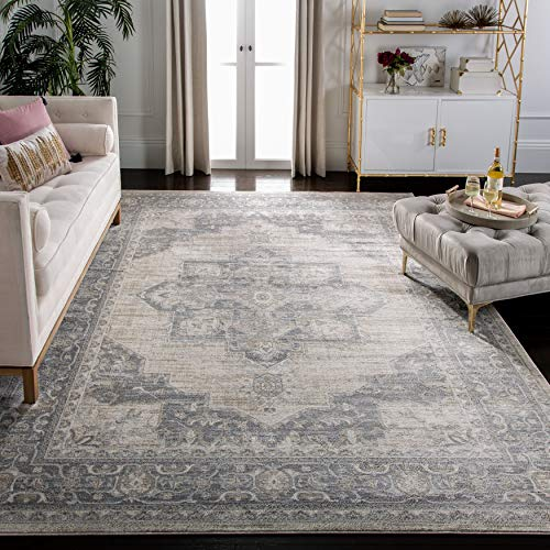 Safavieh Brentwood Collection BNT865B Medallion Distressed Non-Shedding Stain Resistant Living Room Bedroom Area Rug, 9…