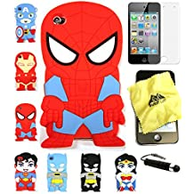 Bukit Cell 3D Superhero Case Bundle 4 Items: Spiderman Cute Justice League Soft Silicone Case for Ipod Touch 4 4g 4th Generation + Cleaning Cloth + Screen Protector + Metallic Stylus Touch Pen