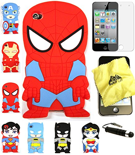 Bukit Cell 3D Superhero Case Bundle 4 Items: Spiderman Cute Justice League Soft Silicone Case for Ipod Touch 4 4g 4th Generation + Cleaning Cloth + Screen Protector + Metallic Stylus Touch Pen ()