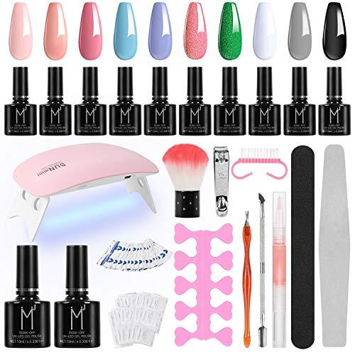 Winload Kit Uñas Semipermanentes, 10 Colores Esmalte Semipermanente en Gel 10ml, Lámpara UV LED para Uñas 6W, Soak Off…