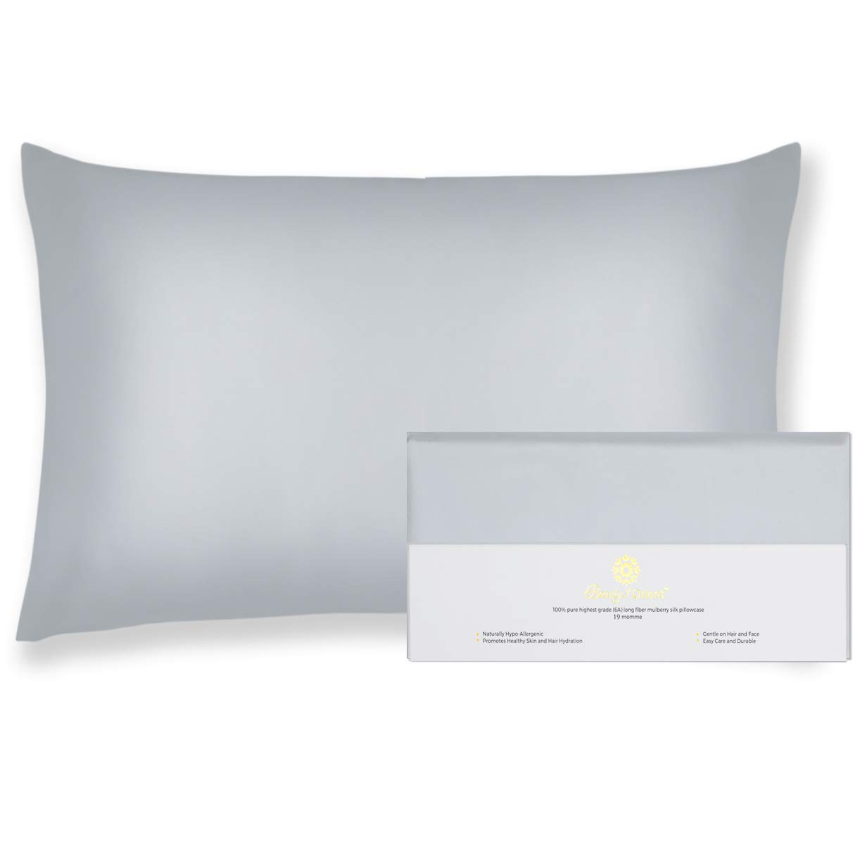"""Beauty of Orient - 100% Pure Mulberry Silk Pillowcase for Hair and Skin, 19 Momme Both Sides, Hidden Zipper - Natural Hypoallergenic Silk Pillow Case - Best Sleep (King - 20"""" x 36"""", Silver Lining)"""
