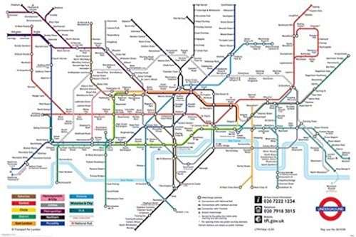 Pyramid America London Underground Map The Tube Subway Poster 36x24 inch