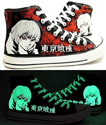 Bromeo Tokyo Ghoul Unisexe Toile Salut-Top Sneaker Baskets Mode Chaussures Lumineux