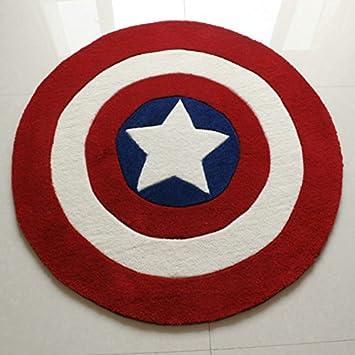 Luk Oil Boys Childrenu0027s Room Rug Captain America Shield Pattern Carpet  Acrylic Thicken Round Rug Anti