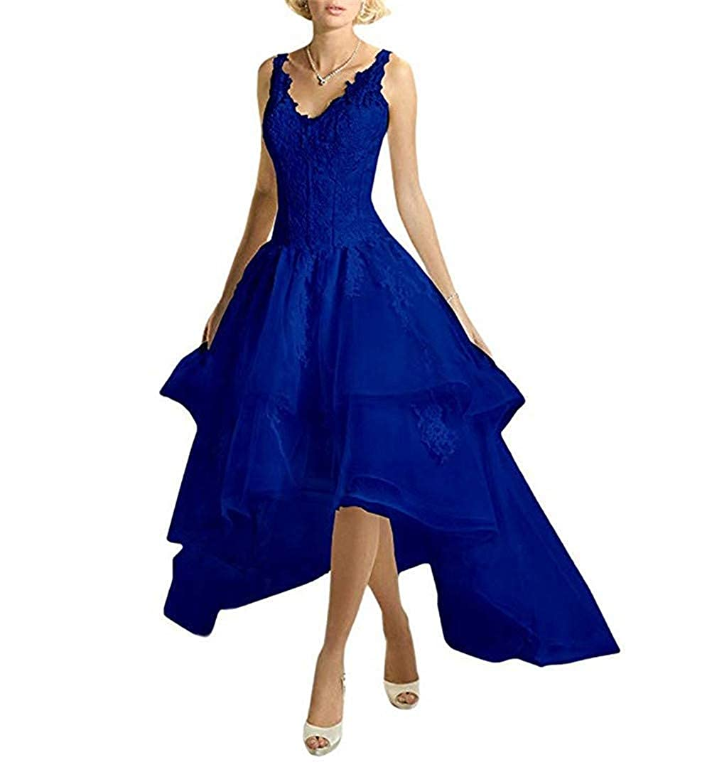 Royal bluee PromQueen Prom Dress High Low Lace Applique Wedding Party Dress VNeck Ruffles Bridal Gown