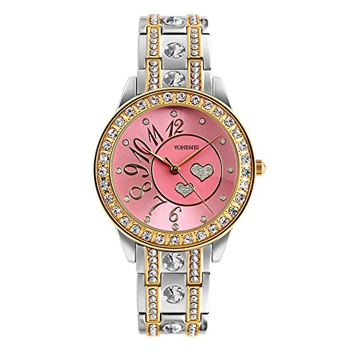 TIDOO Women's Rhinestone Luxury Watches Heart Shape Pink Dial Ladies Bangle Watch (Heart Dial Watch)