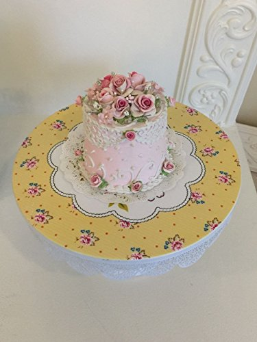 SHABBY CHIC White and yellow 9.5 inch Metal Cake Stand, Shabby chic, Round Wedding, Birthday Party, Dessert Cupcake Pedestal Display Plate with floral design