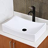 ELITE Bathroom Long Rectangle White Ceramic Porcelain Vessel Sink & Oil Rubbed Bronze Faucet Combo