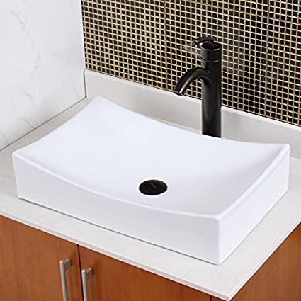 Elite Bathroom Long Rectangle White Ceramic Porcelain Vessel Sink