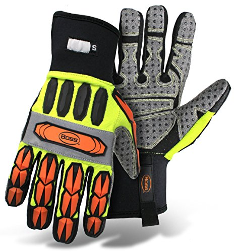 Boss Manufacturing Company 6100ML High-Vis Impact Molded Knuckle/Finger Glove with a PVC Palm. Size Large. Colors Orange/Yellow/Black (Best Glove Manufacturing Company)