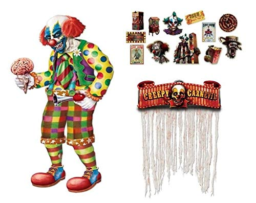 Creepy Carnival Decorations Zombie Halloween Set Jointed Clown Door Curtain Cutouts -