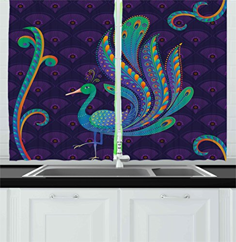 Ethnic Kitchen Curtains by Ambesonne, Peacock Bird with Oriental Feather before Eastern Spiritual Animal Image, Window Drapes 2 Panel Set for Kitchen Cafe, 55 W X 39 L Inches, Purple Green Blue