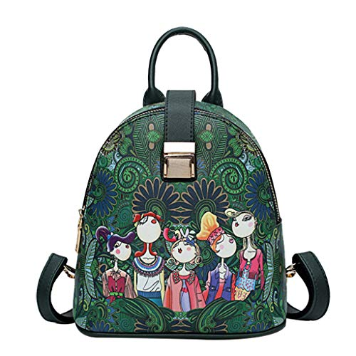 Fashion Backpack Purse, ✦◆HebeTop✦◆ Casual Travel Waterproof Forest Girls Pattern School Bag Green