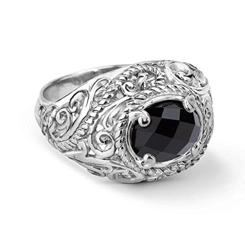 (Carolyn Pollack Sterling Silver Onyx Gemstone Ring Size 5)