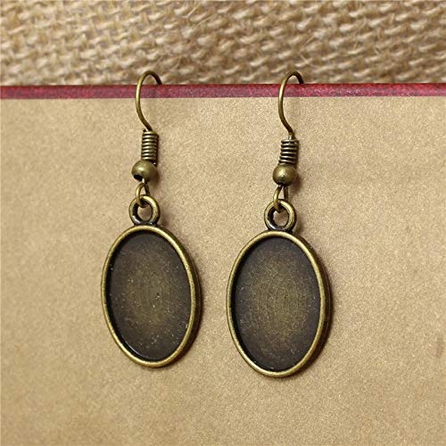 Laliva 30pc 1318mm Antique Bronze Alloy Oval Dangle Earrings Hooks Cabochon Base Setting DIY Jewelry Findings Making Fittings T573
