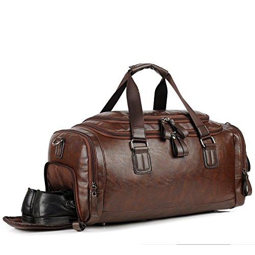 Hombres Bolsa de gimnasio para hombres Cuero Viaje Weekender Overnight Duffel Bag Sports (marrón)