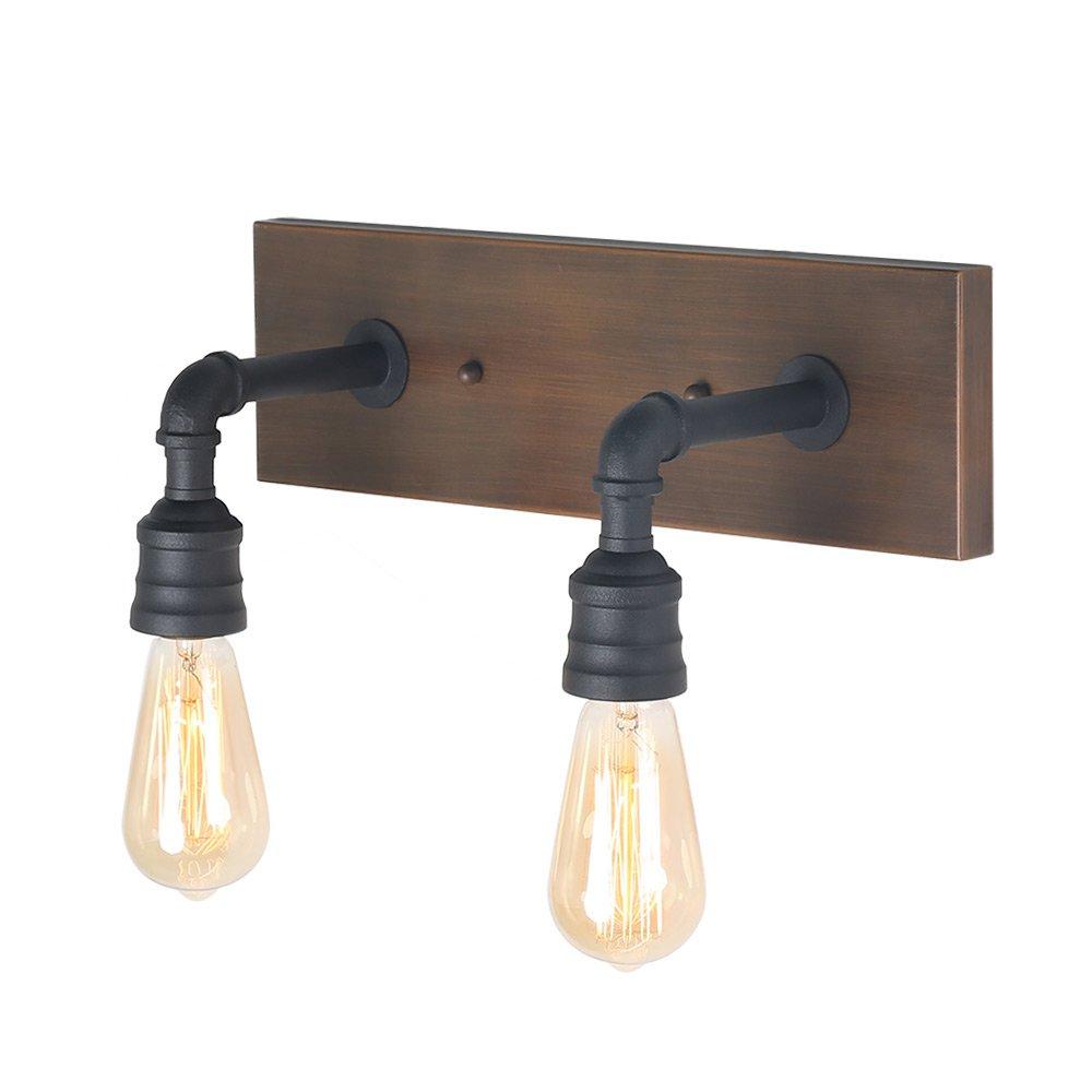 LNC 2-Light Vanity Lights Wall Sconce Black Wall Lamp Industrial Bathroom Wall Lighting
