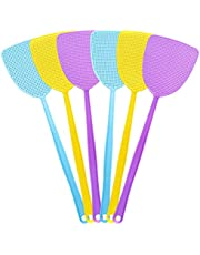 """HAREOOS 6 Pack Fly Swatters, Plastic Fly Swatter Multi Pack, 17.5"""" Long Handle Manual Swat Mosquitoes Fly Swatters, Strong Flexible Fly swatters Heavy Duty(6 Pack,3 Colors)"""