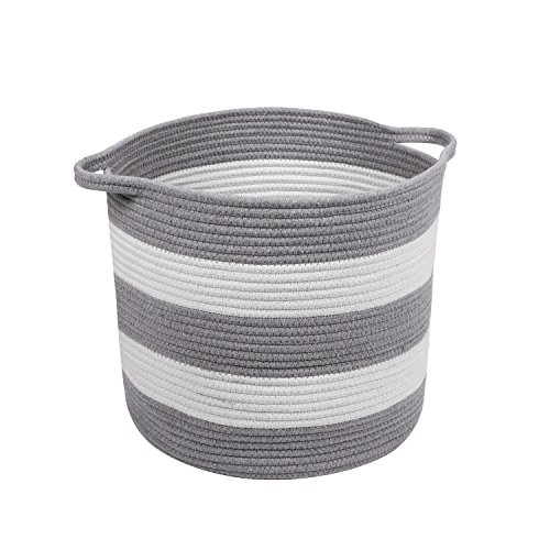 M2 Home Accessories Cotton Rope Storage Basket with Handles for Laundry, Kid's Toys, Nursery, Home Decor, Closet Organization, etc. 15 x 13 (White & Light Gray) (Baskets For Storage Nautical)