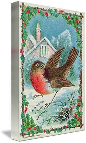 (Imagekind Wall Art Print Entitled Christmas Card Depicting A Robin (Colour Litho) by The Fine Art Masters | 6 x)