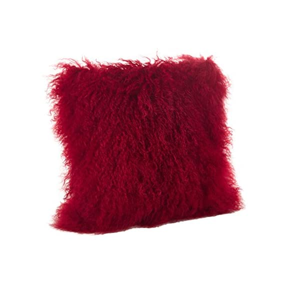 "SARO LIFESTYLE 100% Wool Mongolian Lamb Fur Throw Pillow with Poly Filling, 16"", Red - Size: 16"" Square Solid on back, zipper closure on bottom Fiber: 100% wool + Care: spot clean, avoid direct exposure to sunlight - living-room-soft-furnishings, living-room, decorative-pillows - 51LFqc16ShL. SS570  -"