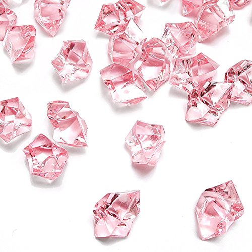 Pink Fake Crushed Ice Rocks, 150 PCS Fake Diamonds Plastic Ice Cubes Acrylic Clear Ice Rock Diamond Crystals Fake Ice Cubes Gems for Home Decoration Wedding Display Vase Fillers by DomeStar -
