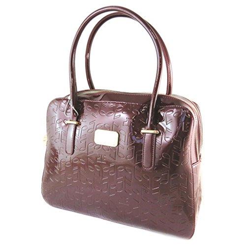 Bolsa de cuero 'Jacques Esterel'pulimento de notas musicales marrón.