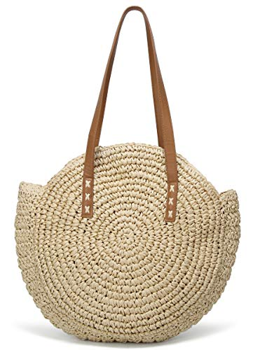 Molodo Round Summer Straw Large Woven Bag Purse For Women Vocation Tote Handbags (Beige) ()