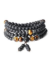 AmorWing Onyx Tiger Eye 108 Mala Beads Wrap Bracelet Necklace
