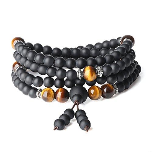 (AmorWing Onyx Brown Tiger Eye 108 Mala Beads Wrap Bracelet Necklace)