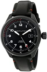 Hamilton Men's 'Khaki Field' Swiss Automatic Stainless Steel and Leather Dress Watch, Color:Black (Model: H76695733)