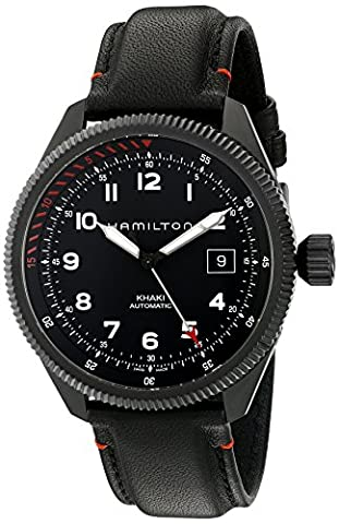 Hamilton Men's 'Khaki Field' Swiss Automatic Stainless Steel and Leather Dress Watch, Color:Black (Model: (Hamilton Khaki Field Automatic)