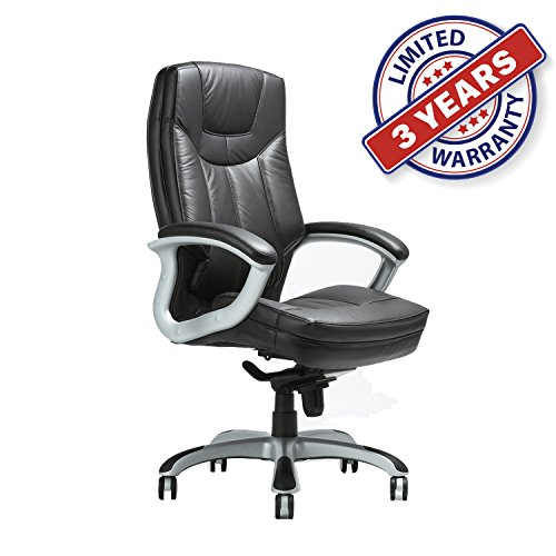 (CLATINA Executive Bonded Leather Chair with Lean Forward High Back and Comfort Padding Ergonomic Seat for Managerial Office Home)