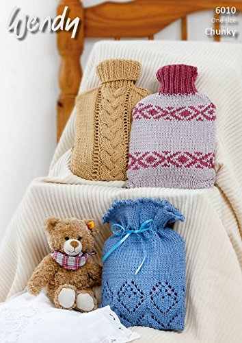 Wendy Home Hot Water Bottle Covers Merino Knitting Pattern 6010