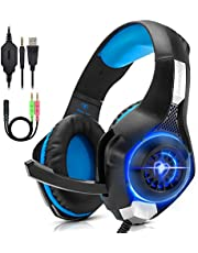 ANTOPM Auriculares Gaming con Microfono para PC, PS4, Xbox one, Cascos Gaming con Bass Surround, Cancelacion ruido, luz LED USB, 3.5mm para Switch, Laptop, Tablet, Móvil, etc