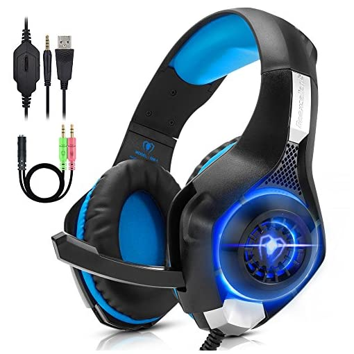 Beexcellent PC Gaming Headset PS4, Xbox One, VR, Surround Sound Overear Gaming Headphones Noise Isolating Mic with LED…