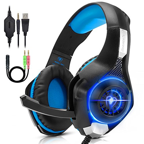 ANTOPM PC Gaming Headset for PS4, Xbox One, VR, Surround Sound Overear Gaming Headphones with Noise Isolating Mic, Soft Memory Earmuffs, USB LED Light