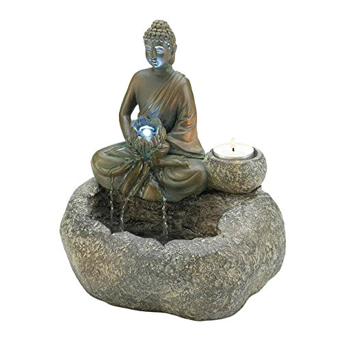 Serene Buddha Candle - DMS Serene Zen Buddha Table Top Water Fountain with Candle Holder and Glowing Flower Stone Look 10.2 inches Tall
