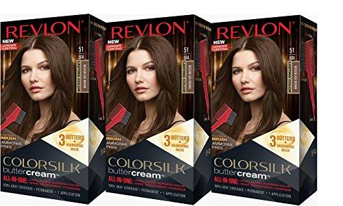 Revlon Colorsilk Buttercream Hair Dye, Medium Ash Brown, 3 Count (Best Ash Brown Dye)