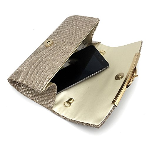 Ladies Clutch Bag And XIAOLONGY Explosions Bag Bag Satin European Fashion Bag Messenger American Metallic champagne Evening TF7a1